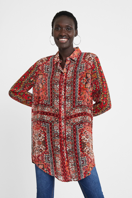 Chemise longue frises ethniques - RED - S