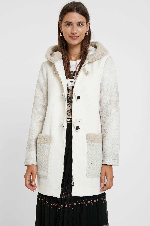 Manteau en laine mélangée capuche - WHITE - M