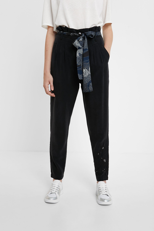 Hosen - Hose mit Abnähern und Tuch als Gürtel BLACK XL  - Onlineshop Desigual