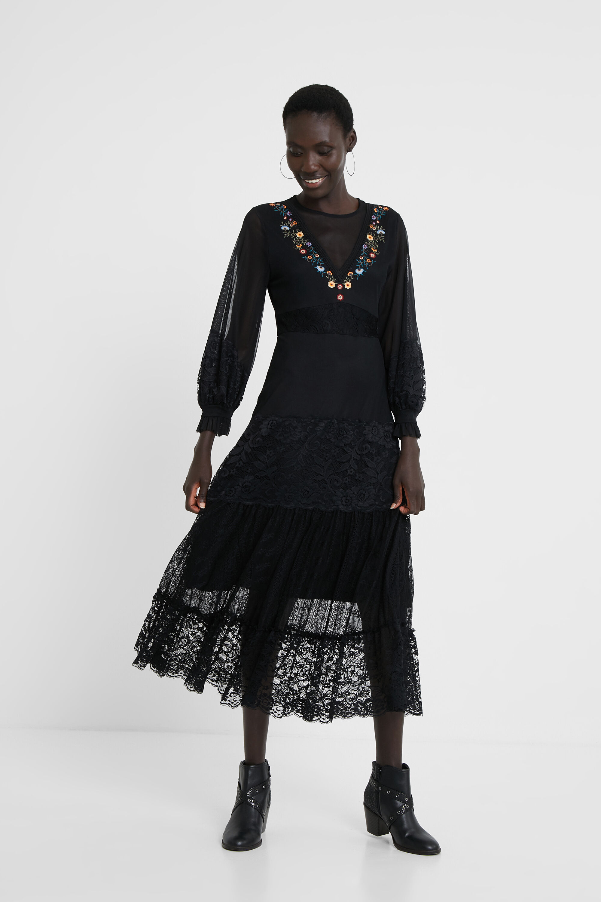 Multilayer floral dress - BLACK - XS