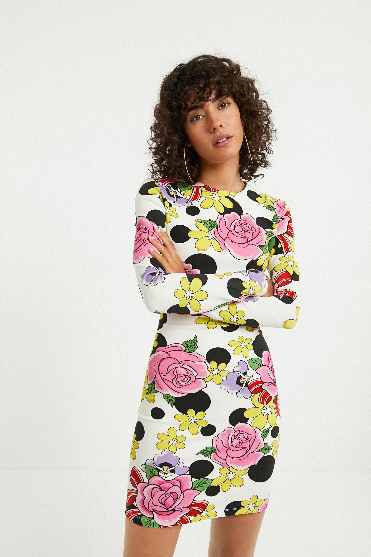 Short elastic floral dress - WHITE - XL