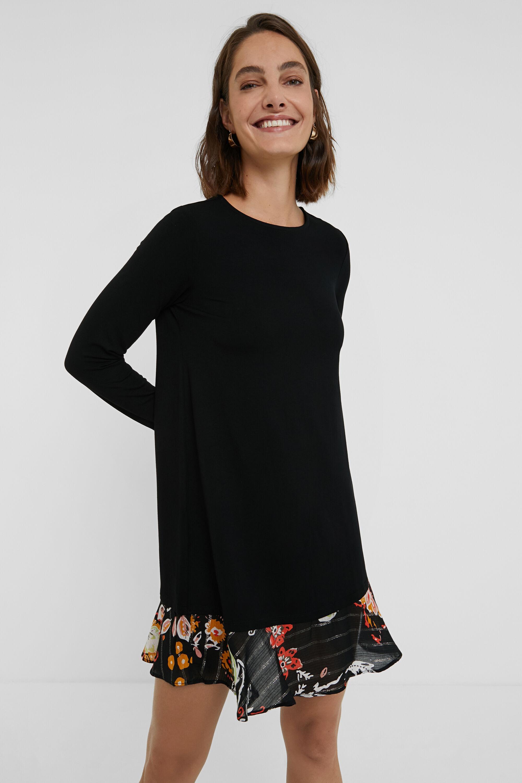 Robe courte à bas fleuri - BLACK - M - Desigual - Modalova
