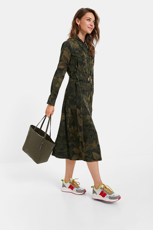 Robe chemise longue évasée - GREEN - 46