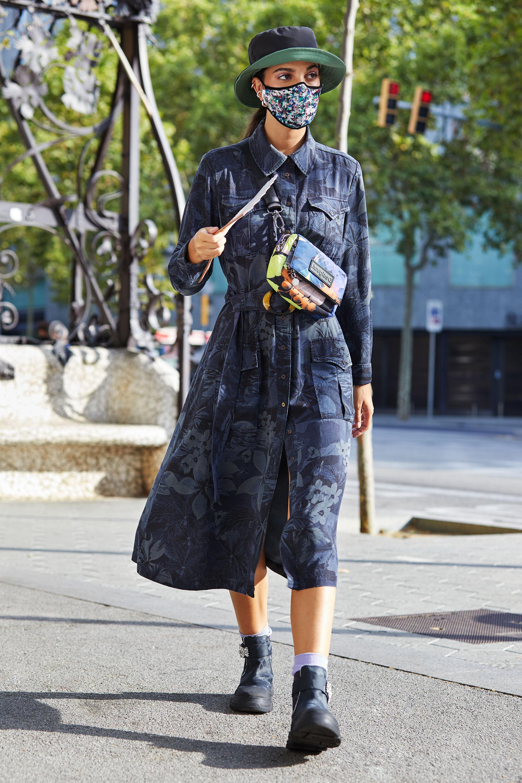 Robe chemise longue évasée - BLUE - 44