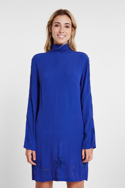 Robe viscose col montant - BLUE - L