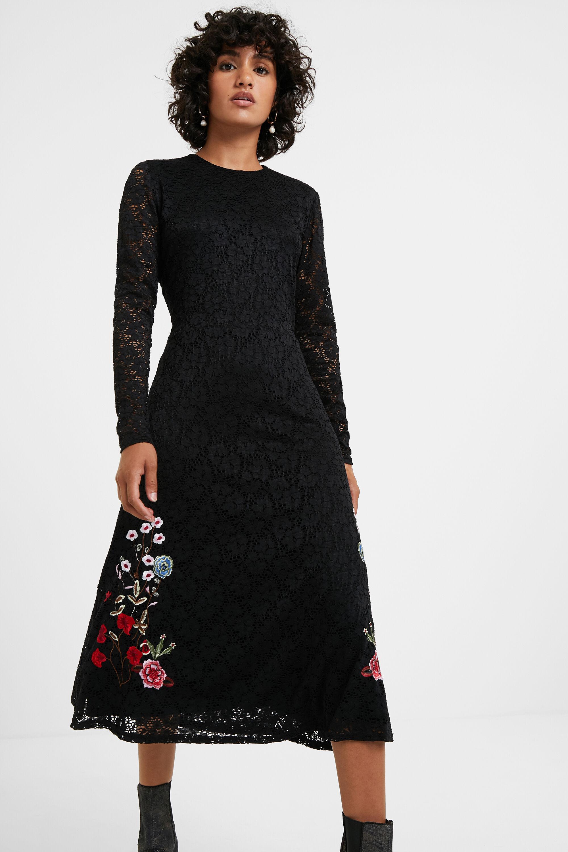 Robe dentelle fleurs - BLACK - L
