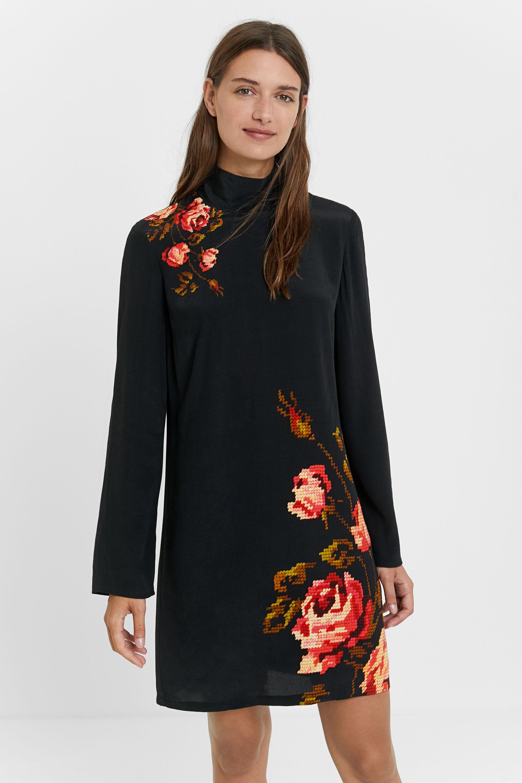 Robe droite florale - BLACK - L
