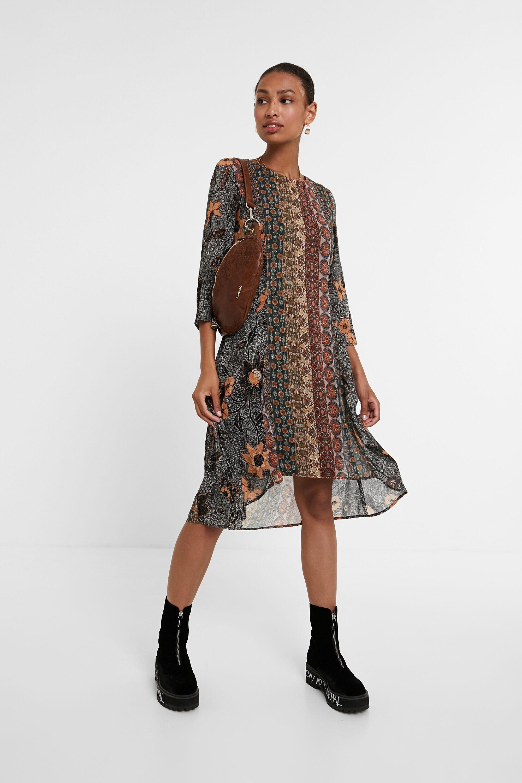 Robe frises boho - BROWN - L