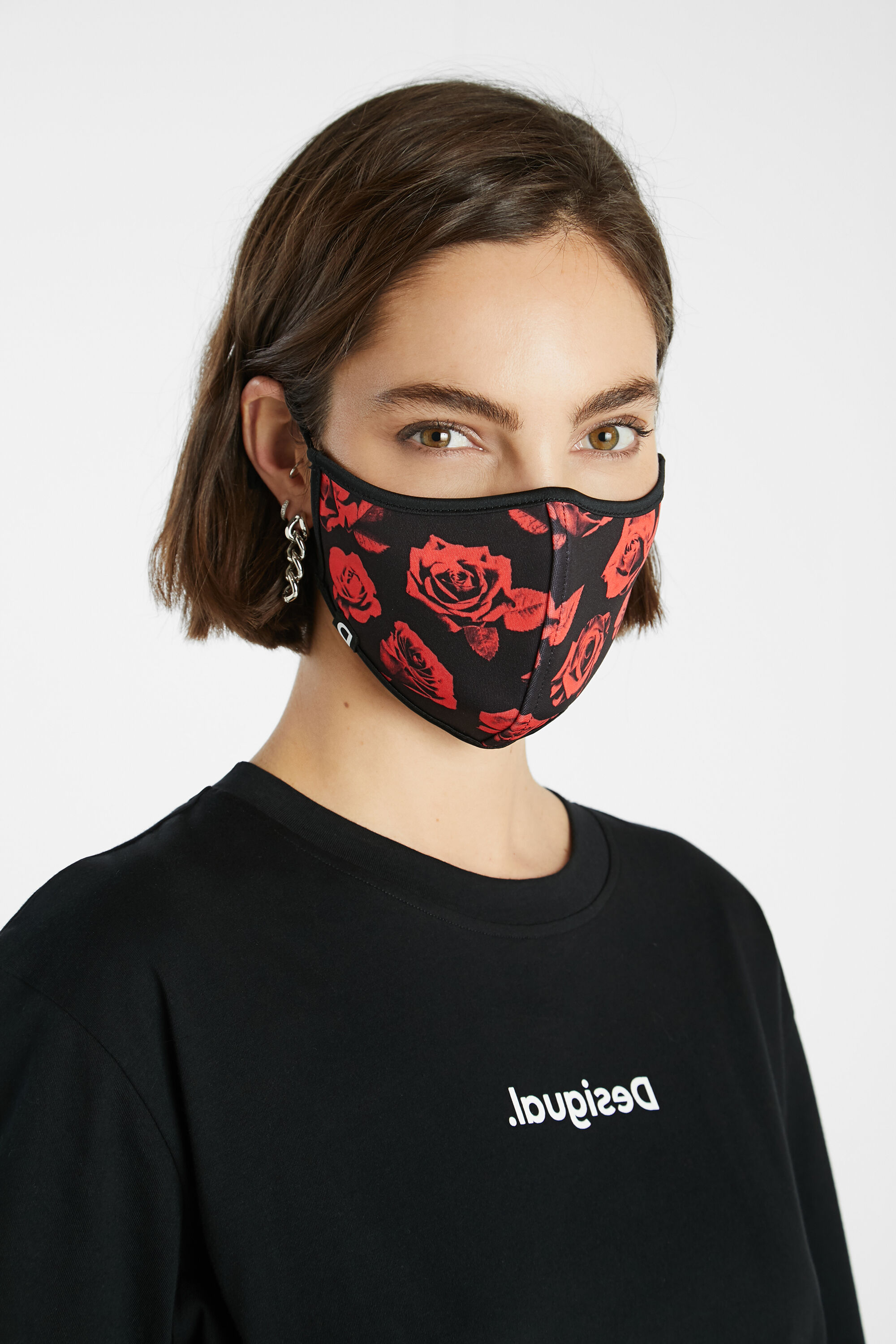 Roses face mask + pouch - BLACK - U