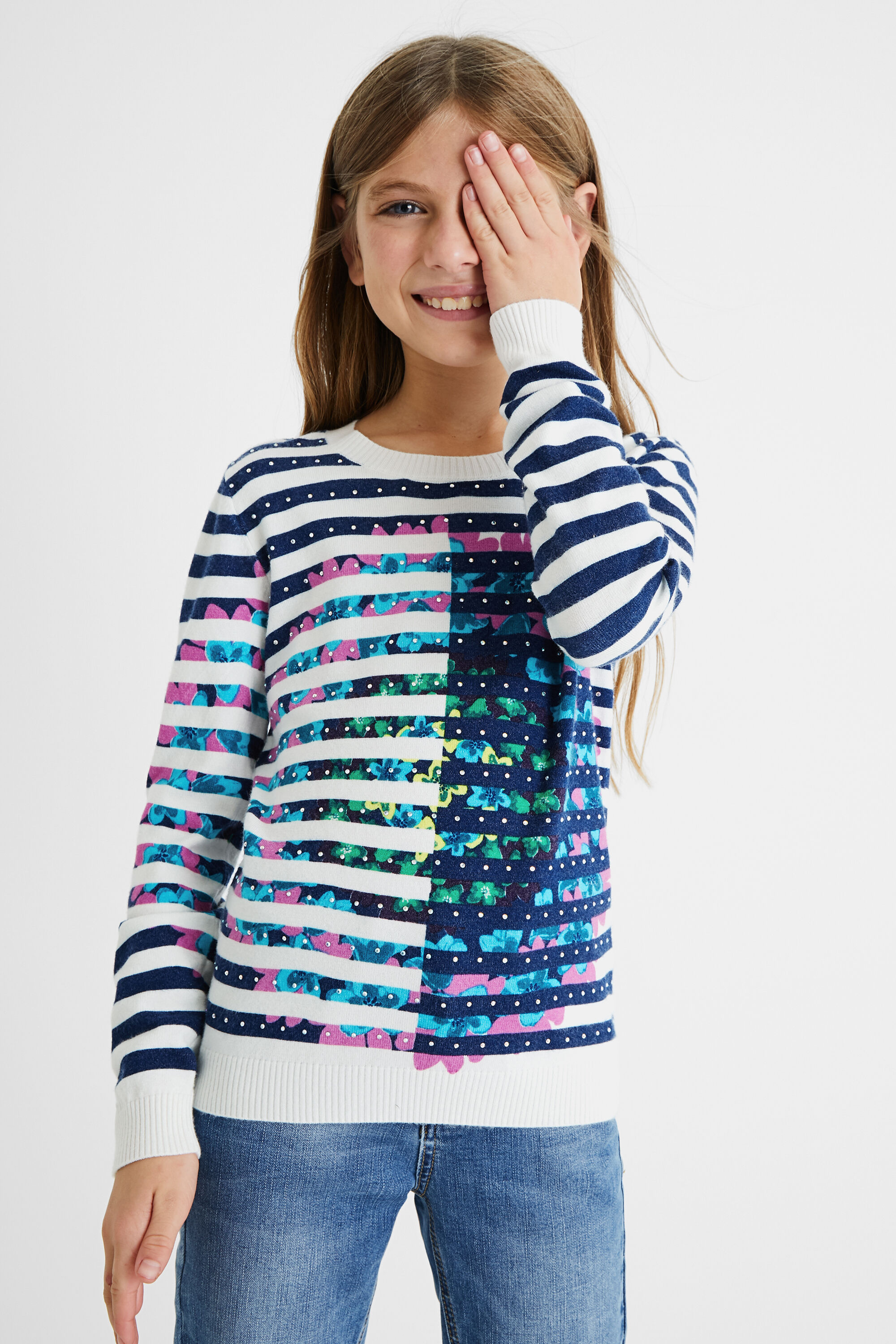 Tricot jumper stripes drawing - WHITE - 5/6