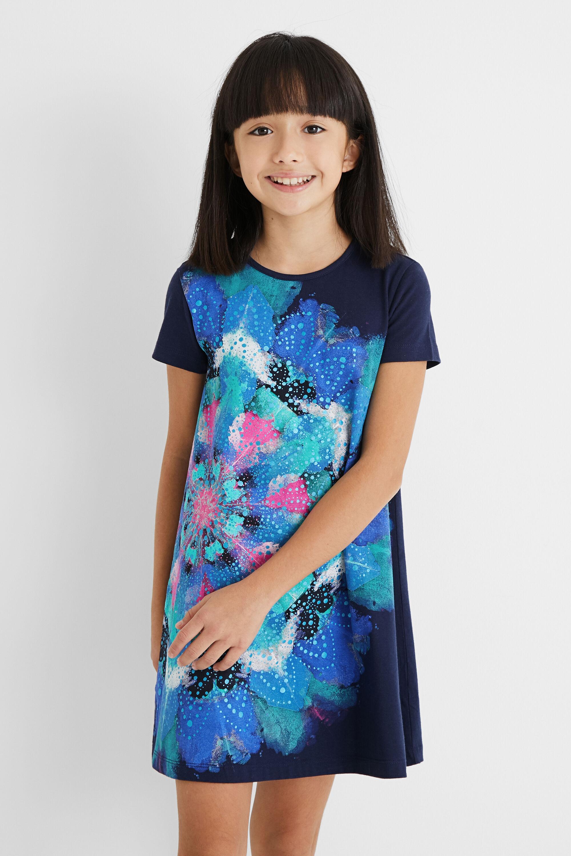 Pleasant touch T-shirt dress - BLUE - 7/8