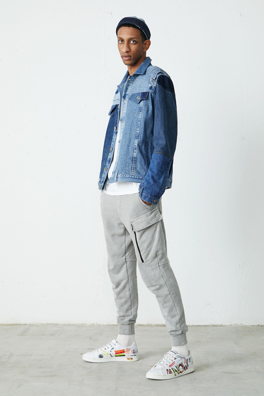 Upcycled patch denim jacket - Unisex - BLUE - S