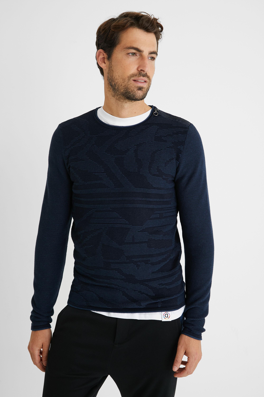 Jumper zipper 100% cotton - BLUE - M