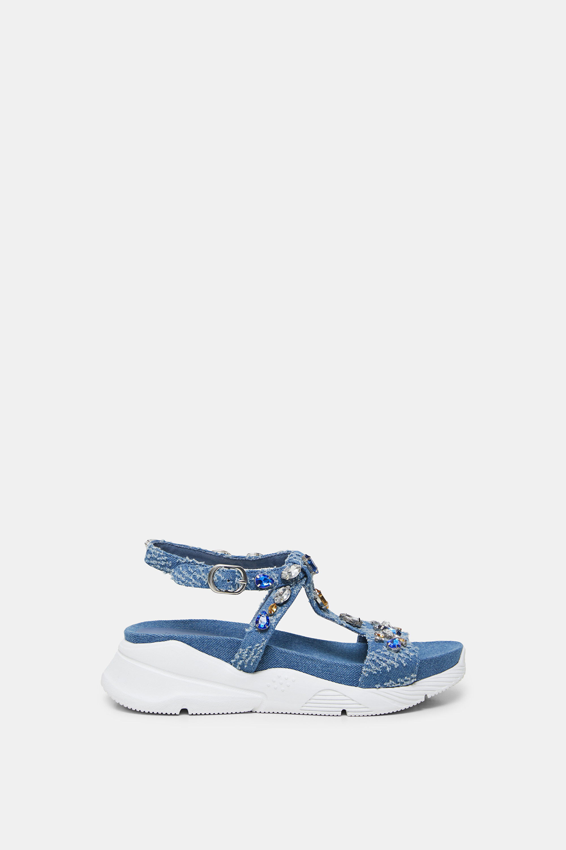 Sandales semelle caoutchouc pierreries - BLUE - 41 - Desigual - Modalova