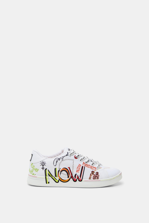 Round toe cap sneakers text - WHITE - 42