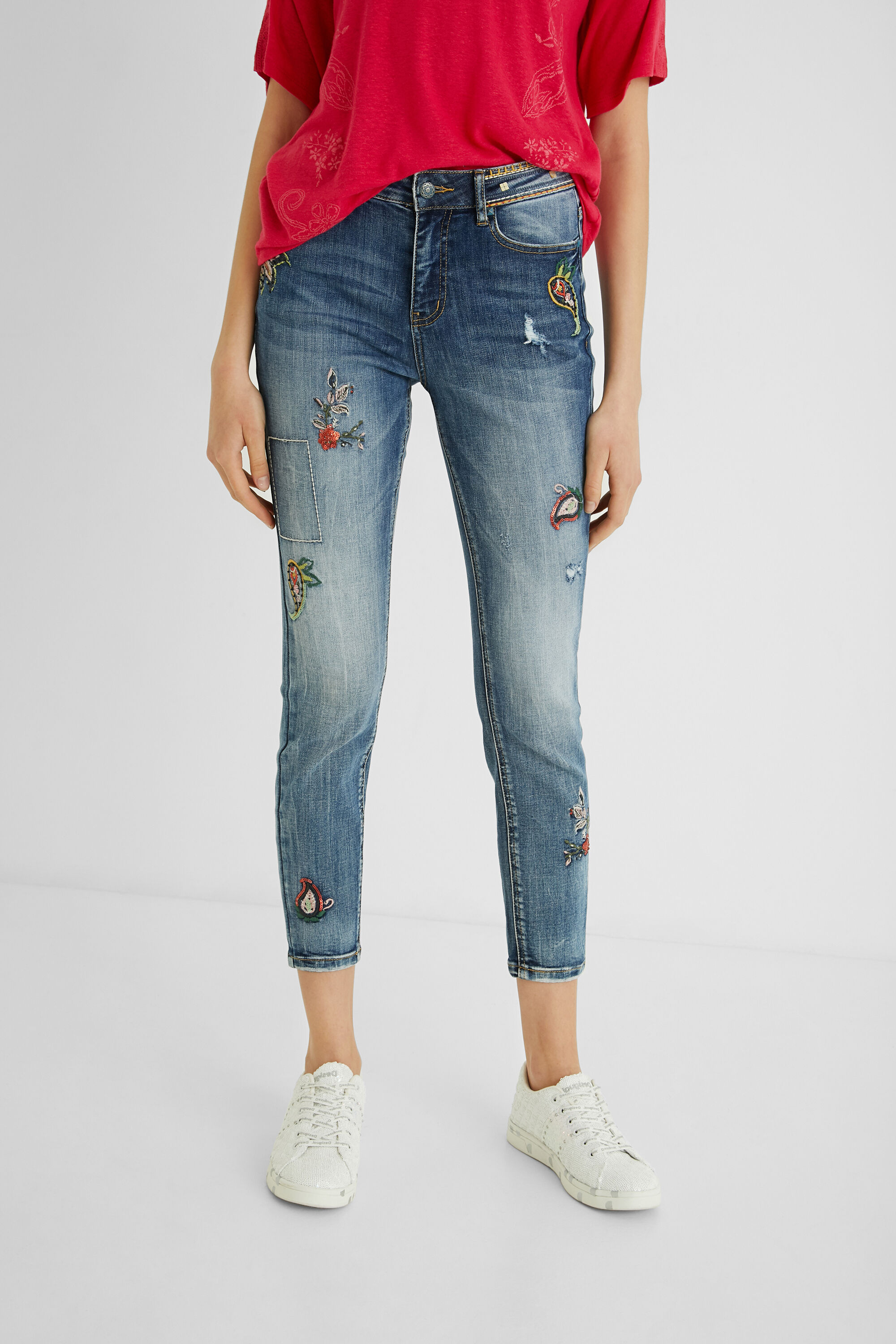 Skinny jeans cropped - BLUE - 28