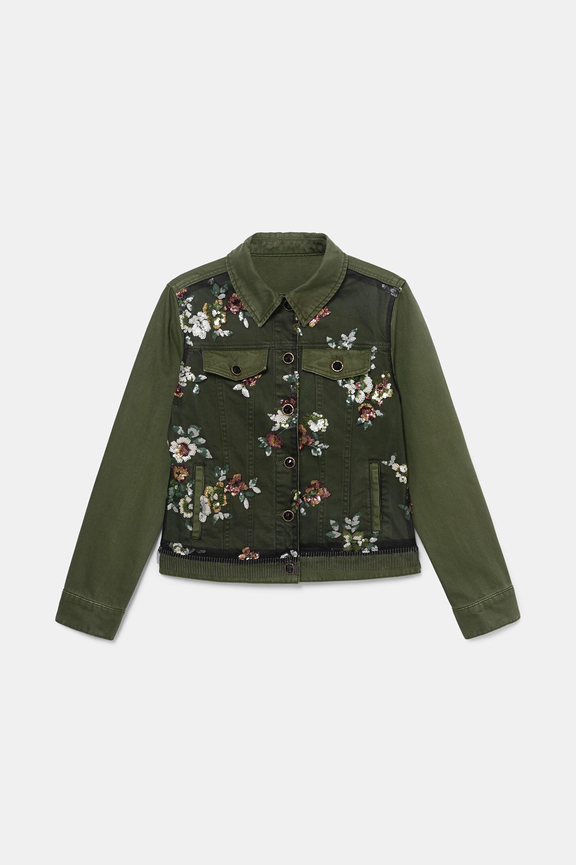 Slim jean jacket flowers - GREEN - 40