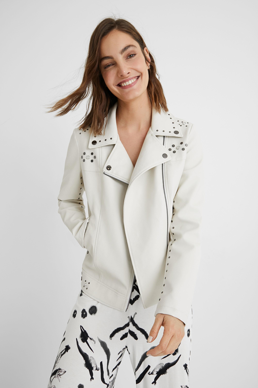Slim biker jacket studs - WHITE - 40