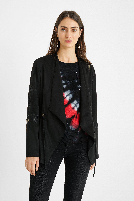 Open blazer leather effect - BLACK - L