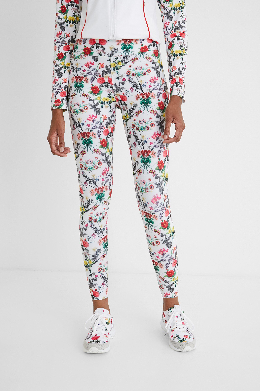 Hosen - Knöchellange Slim Fit Leggings mit Blumen WHITE L  - Onlineshop Desigual