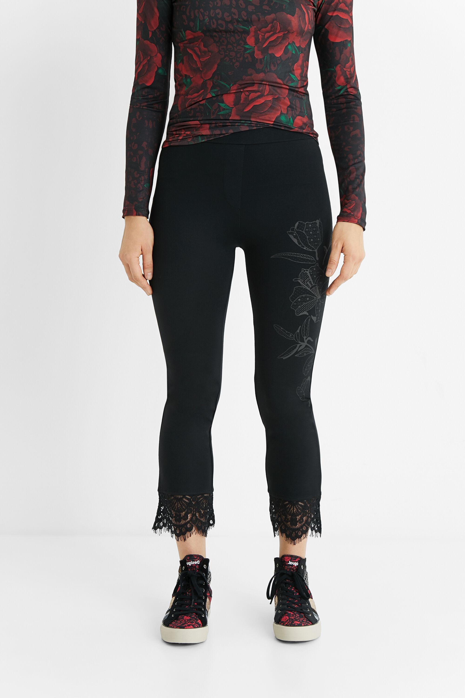 Hosen - Leggings Slim Fit Spitze BLACK S  - Onlineshop Desigual
