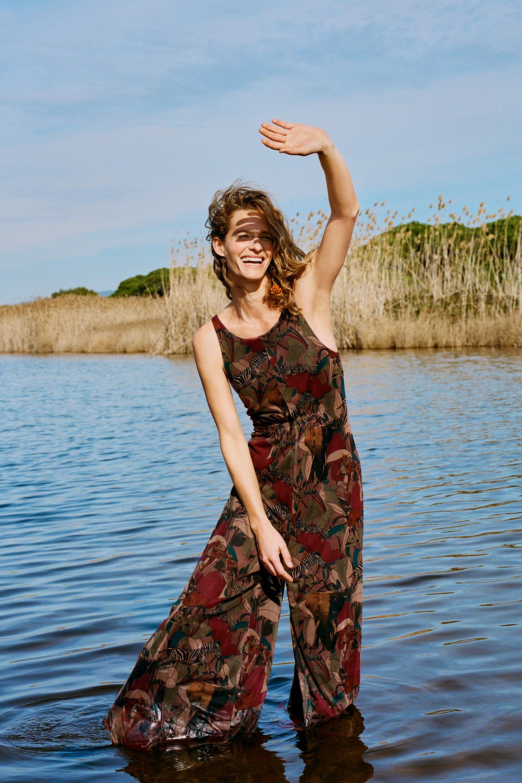 Hosen - Langer Jumpsuit Camoflower GREEN XL  - Onlineshop Desigual