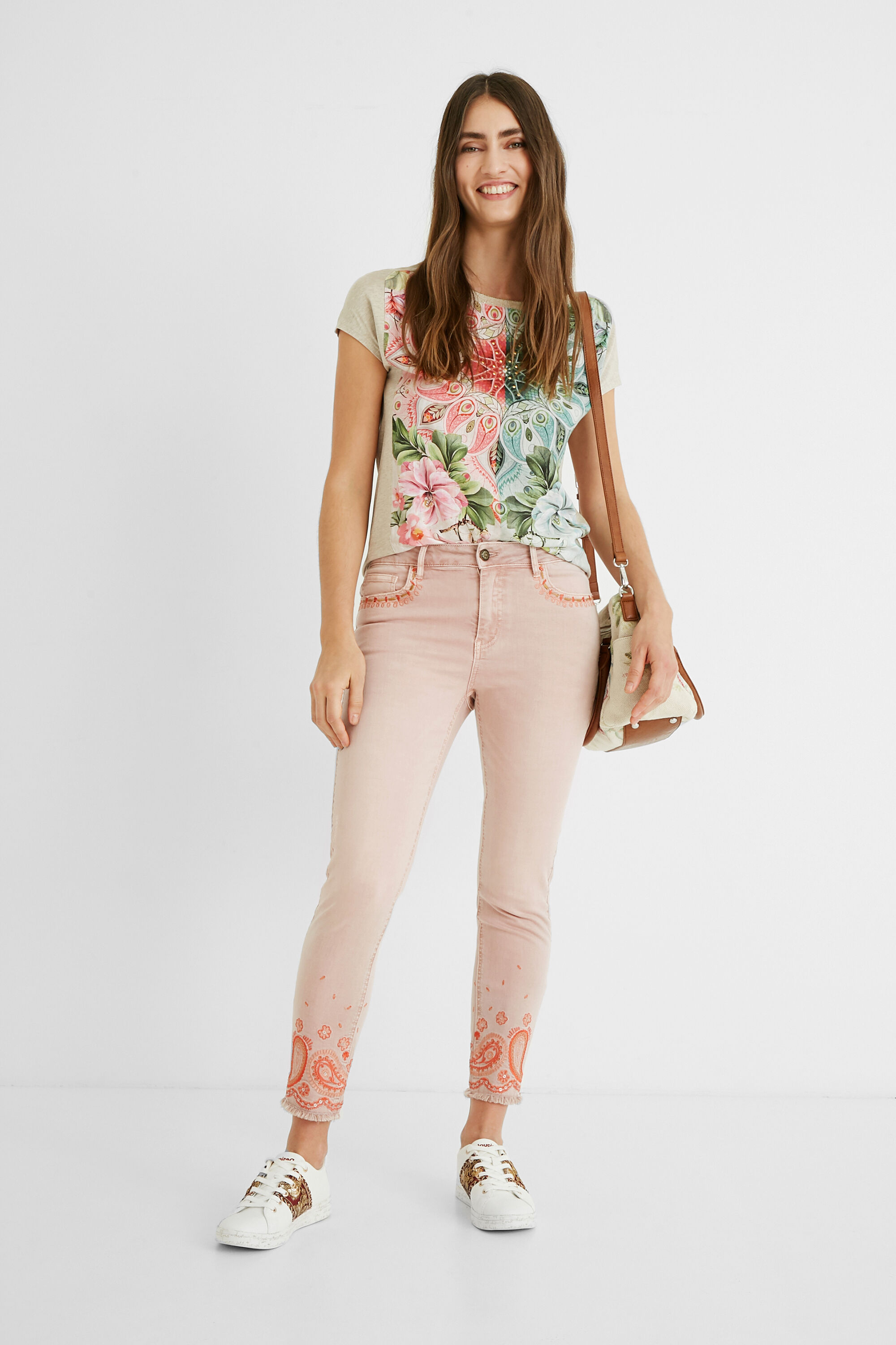 Skinny cropped jeans - RED - 40