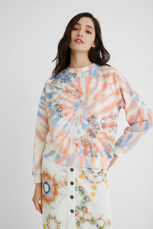 Sweat-shirt coton ouaté tie-dye - WHITE - M - Desigual - Modalova