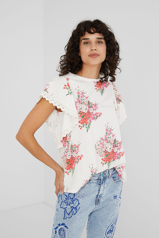 Flounced T-shirt floral - WHITE - S