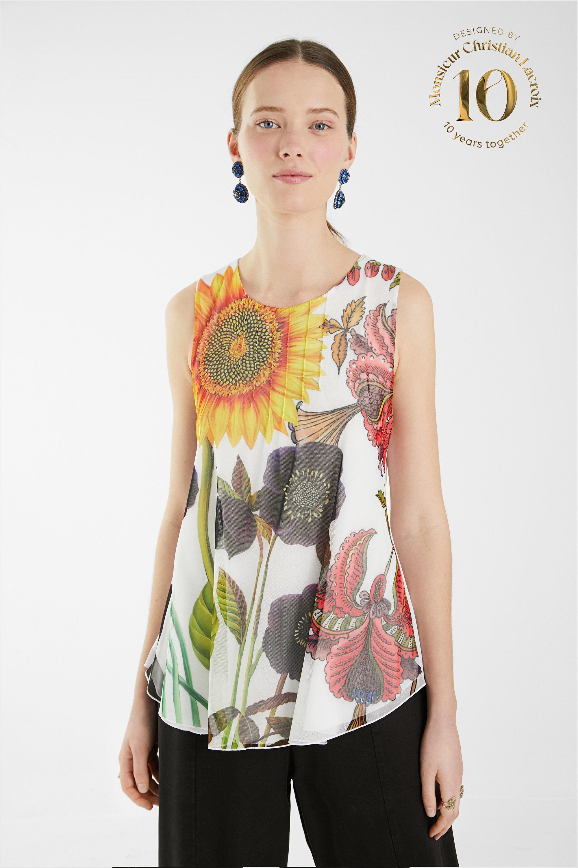 Sleeveless T-shirt floral - WHITE - XL