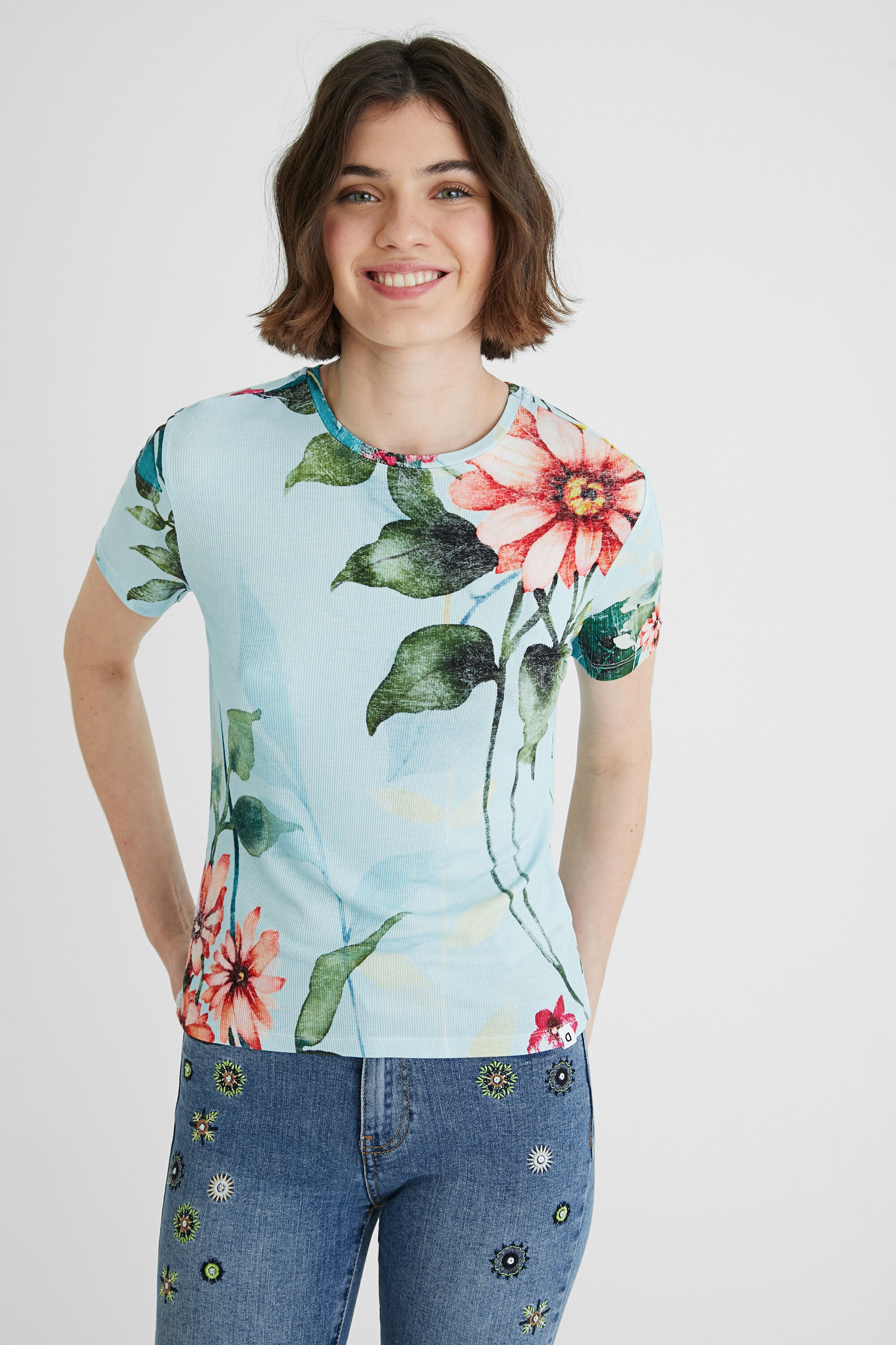 Fine ribbed floral T-shirt - BLUE - S
