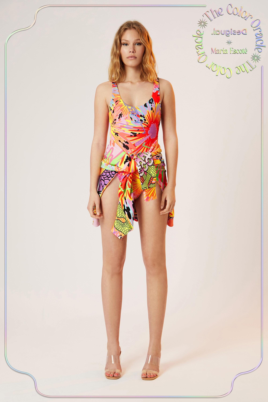 Bodysuit colour print - RED - L