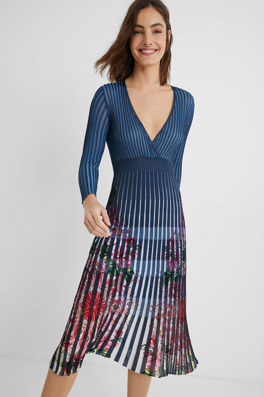Pleated dress floral - BLUE - L