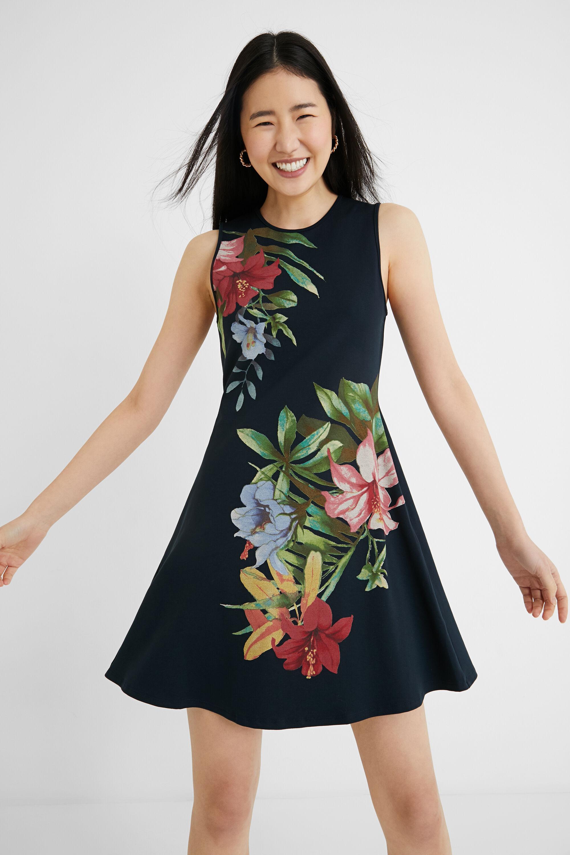 Short flared dress floral - BLUE - XXL