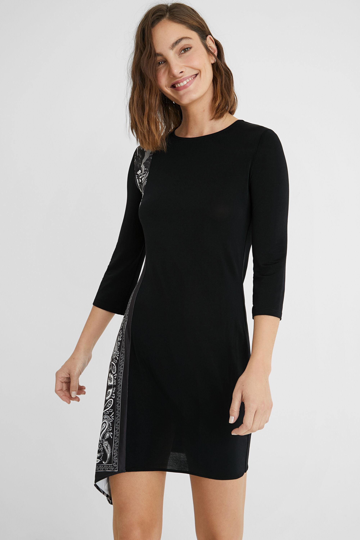 Flared asymmetric midi-dress - BLACK - L