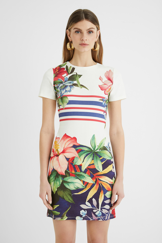 Short T-shirt pinafore dress - WHITE - M