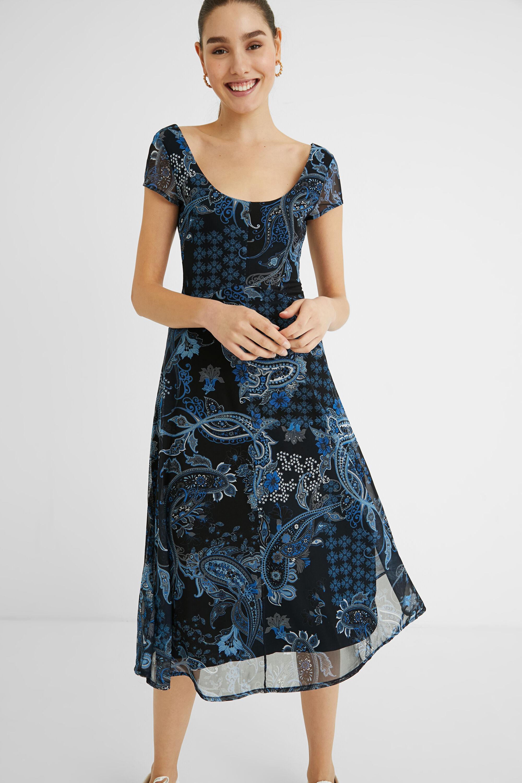 Long flared print dress - BLUE - S