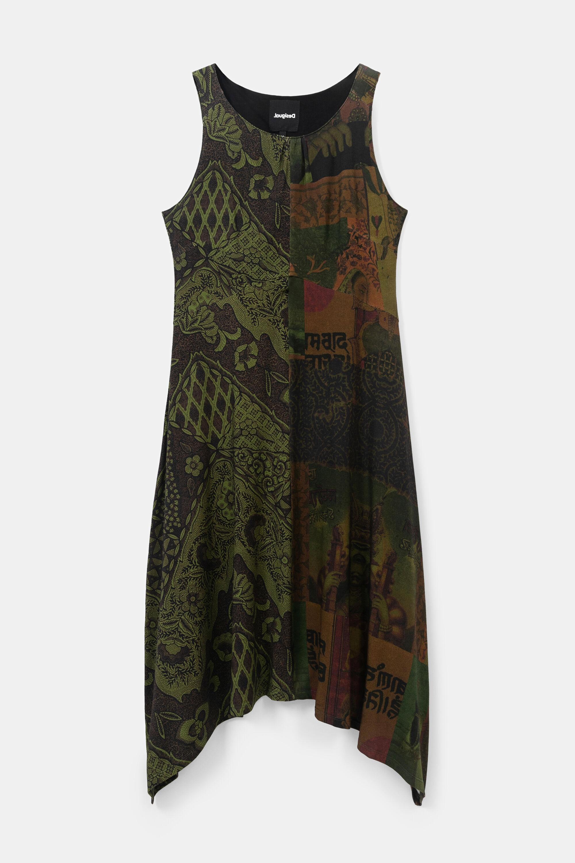 Long flared asymmetric dress - GREEN - S
