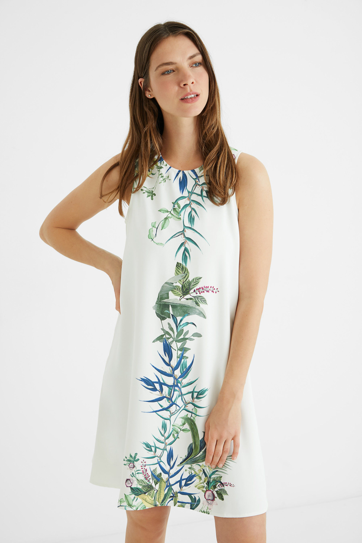 Short loose-fitting dress - WHITE - S