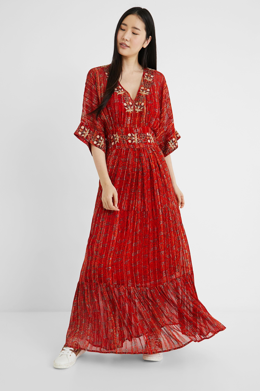 Long ethnic dress Lurex - RED - L