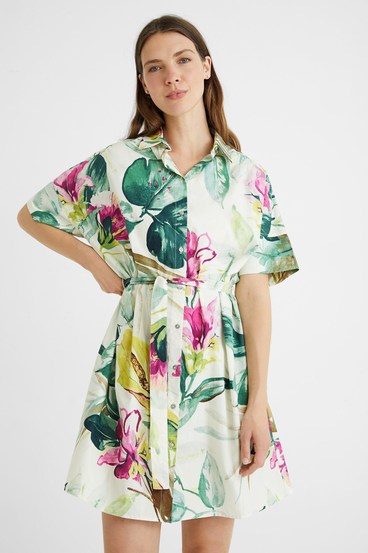 Robe chemise safari fleurie - GREEN - L