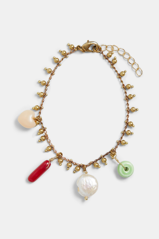 Bracelet golden chain charms - BLACK - U