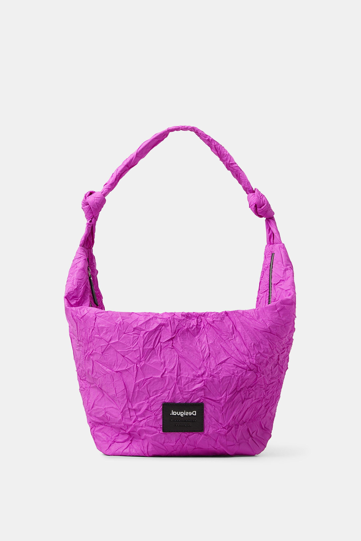 Wrinkled paper effect shoulder bag - RED - U