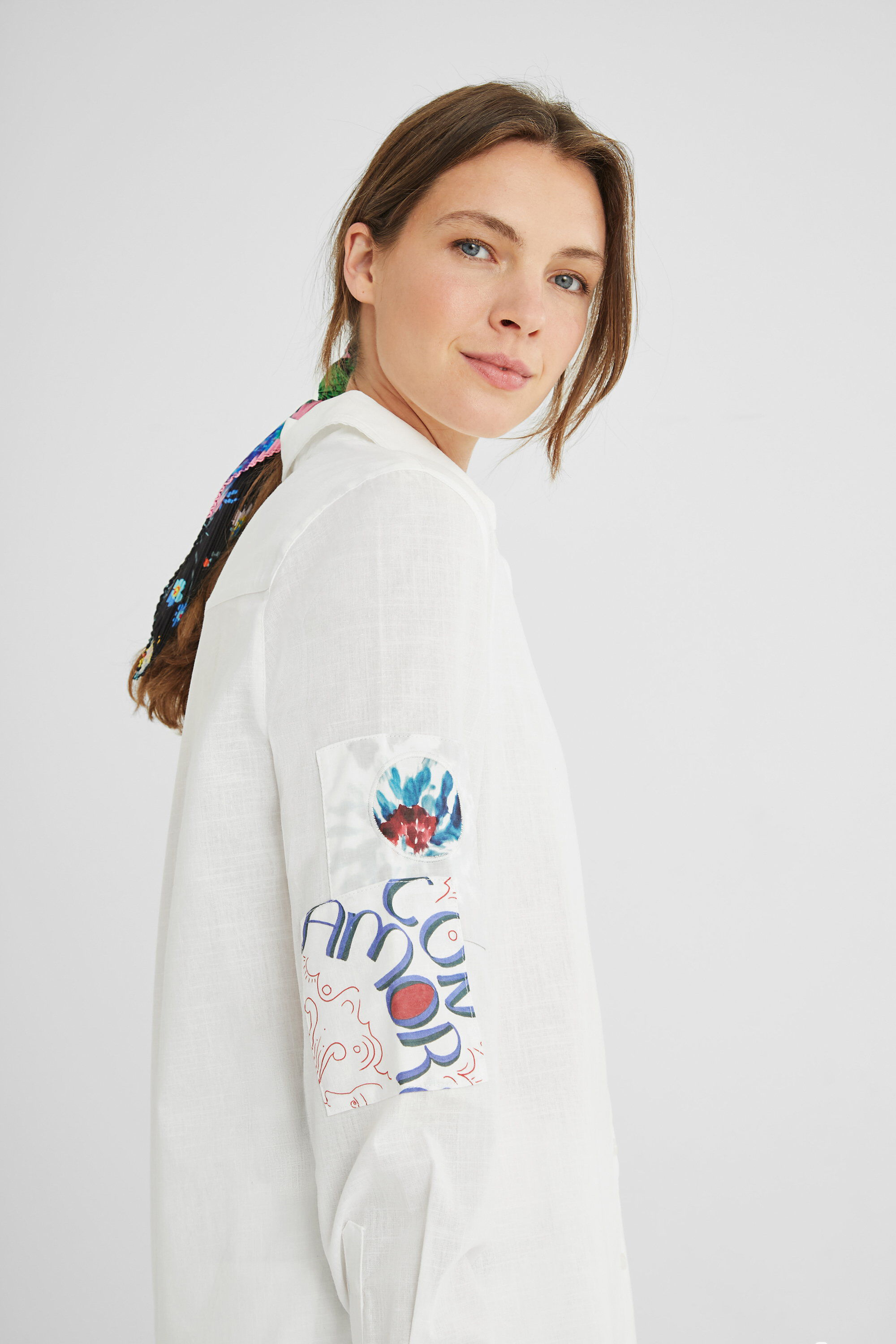 Shirt patch flowers - WHITE - S
