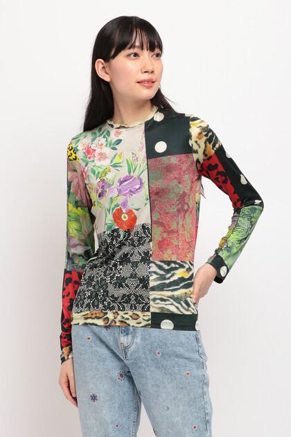 デジタルパッチワーク スリムTシャツ
