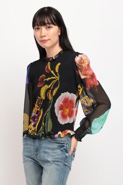 花柄袖 ルーズブラウス