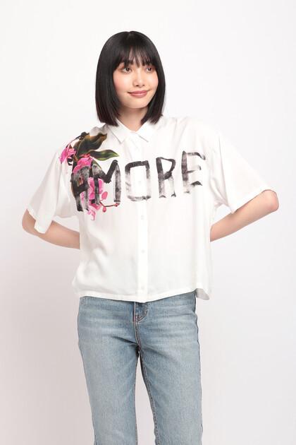 レタリング オーバーサイズ ショートシャツ